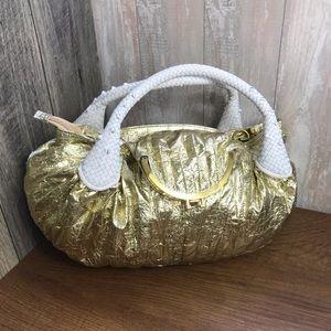 Stylish Women's Tote Bag Gold White